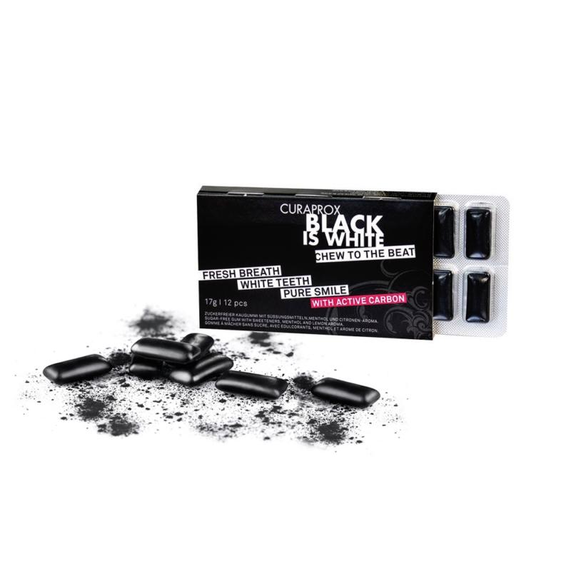 Curaprox Black is White rágógumi, 12 darabos