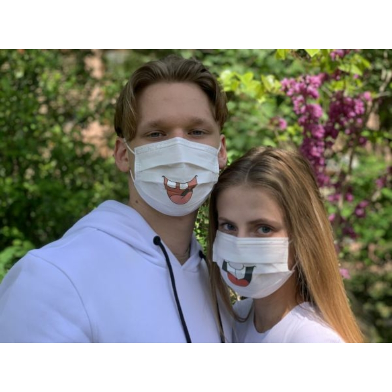 3 rétegű sebészeti maszk FOG MINTÁS GUMIS